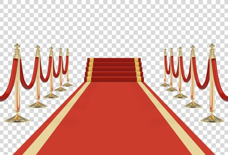 Red carpet on stairs with red ropes on golden stanchions