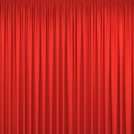 Red closed stage curtains background isolated on white