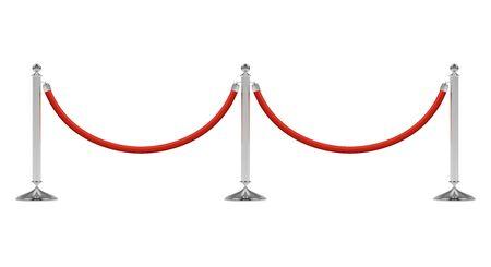 Barierki z czerwoną liną na srebrnych słupkach