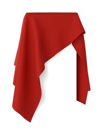 Red fabric covering a blank template vector illustration Vektorgrafik