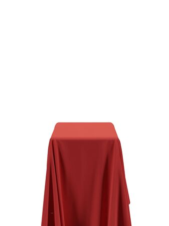 Red fabric covering a cube or rectangular shape, isolated on white background. Can be used as a stand for product display, draped table. Vector illustraion Stock Illustratie