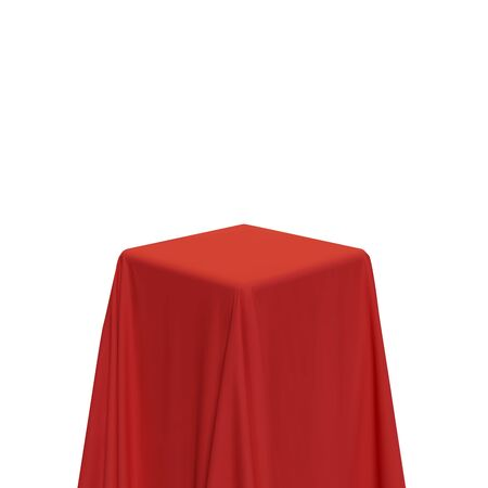Red fabric covering a cube or rectangular shape, isolated on white background. Can be used as a stand for product display, draped table. Vector illustraion Illusztráció