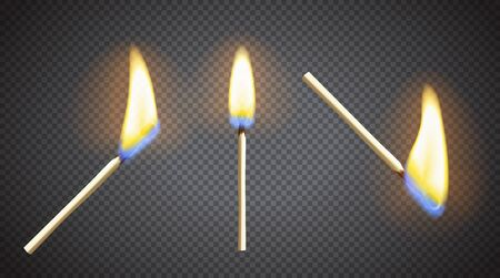 Realistic burning matchstick flame set with transparency. Three different layouts. Vector illustration