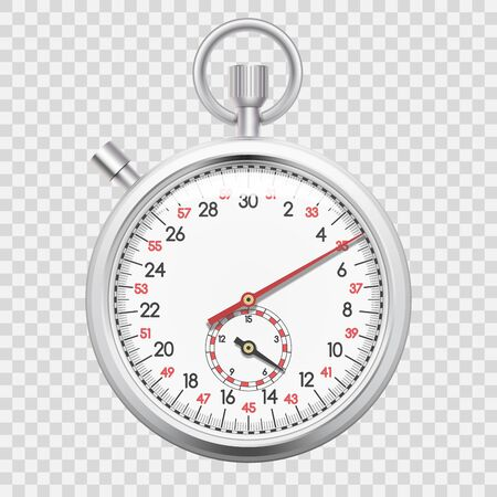 Realistic chronometer, time recording stop watch for sports, delivery time cincept. Vector illustration