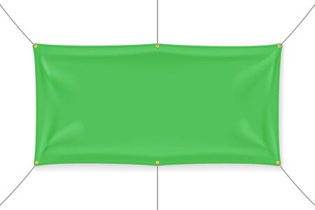 Green textile banner with folds, isolated on white background. Blank hanging fabric template, empty mockup. Vector illustration Ilustração