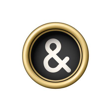 Ampersand Symbol &. Vintage golden typewriter button isolated on white background. Vector illustration. Ilustración de vector