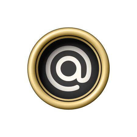 Commercial At Symbol. Vintage golden typewriter button isolated on white background. Vector illustration.
