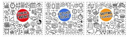 Les icônes de doodle à main levée Finance et Banque, Service à la clientèle et Shopping et e-Commerce sont dessinées à la main dans un style d'art à une seule ligne. Illustration vectorielle isolée sur fond blanc