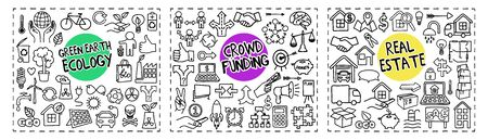 Green Earth Ecology, Crowd Funding and Real Estate freehand doodle icons set hand drawn in single line art style. Vector illustration isolated on white background Vektorové ilustrace
