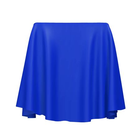 Blue fabric covering a cube or rectangular shape, isolated on white background. Can be used as a stand for product display, draped table. Vector illustraion Stock Illustratie
