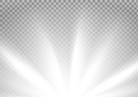 White colored rays with color spectrum flare. Abstract glaring effect with transparency. Vector illustration