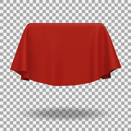 Red fabric covering a blank template vector illustration Illustration