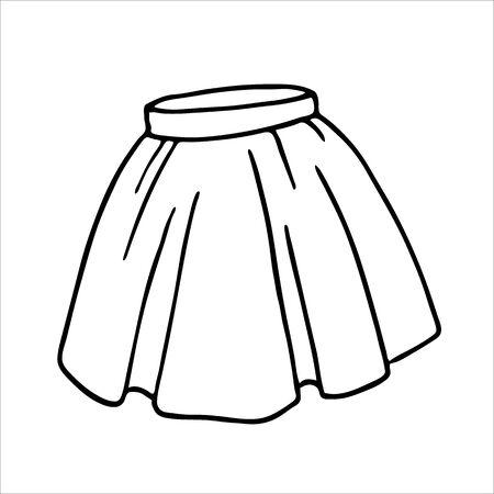 Hand drawn women skirt doodle in pen line art style, isolated on white background. Vector illustration Illustration