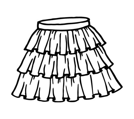 Hand drawn women skirt doodle in pen line art style, isolated on white background. Vector illustration