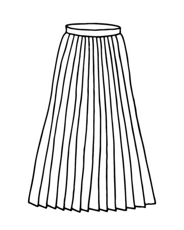 Hand drawn women skirt doodle isolated on white background Ilustración de vector