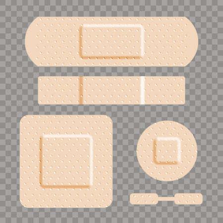 Beige adhesive bandage bandaid set Ilustração