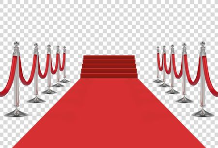 Red carpet with stairs, podium, red ropes, silver stanchions. Exclusive event, movie premiere, gala, ceremony, award concept. Vector illustration.