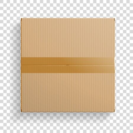 Realistic cardboard box, closed top view, with transparent shadow. Vector illustration