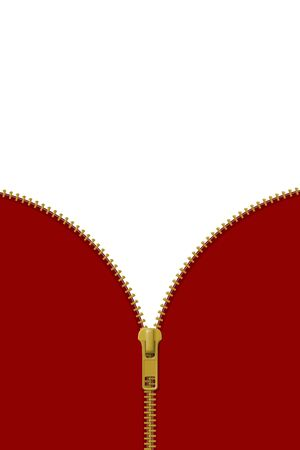 Zipper lock half open on red and white background