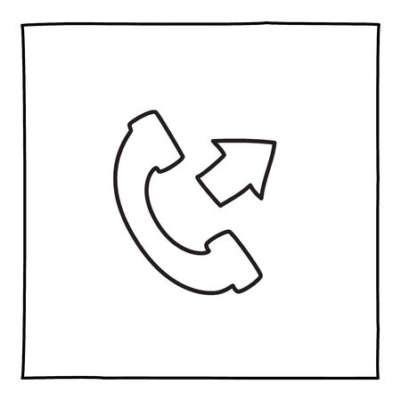 Doodle telephone outgoing call icon, hand drawn with thin black line.