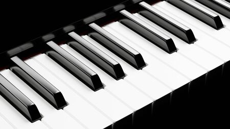 Piano keyboard close up view 3D illustration