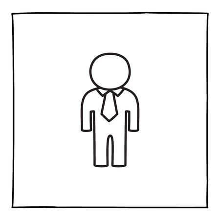 Doodle man or genderless person icon, hand drawn with thin black line. Ilustração
