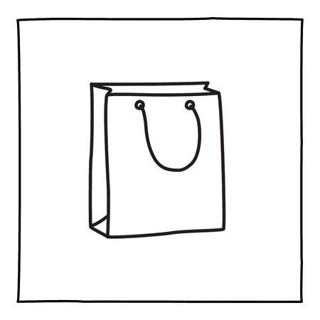 Doodle shopping bag icon, hand drawn with thin black line. Ilustração
