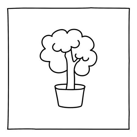Doodle brain icon, hand drawn with thin black line. Ilustração
