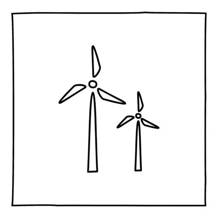 Doodle windmill icon, hand drawn with thin black line. Ilustração