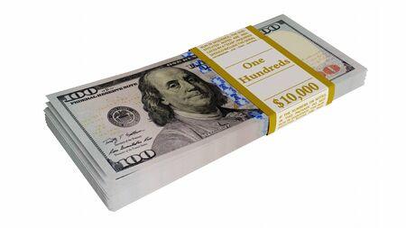 Pile of american dollars 3D illustration