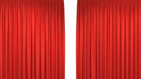 Red open stage curtains background isolated on white