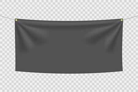 Black textile banner with folds Blank hanging fabric template, empty mockup. Vector illustration Ilustração