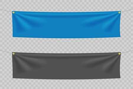 Black and blue textile banners with folds