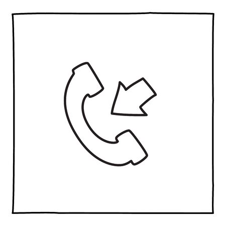 Doodle telephone incoming call icon or logo, hand drawn with thin black line. Isolated on white background. Vector illustration Illusztráció