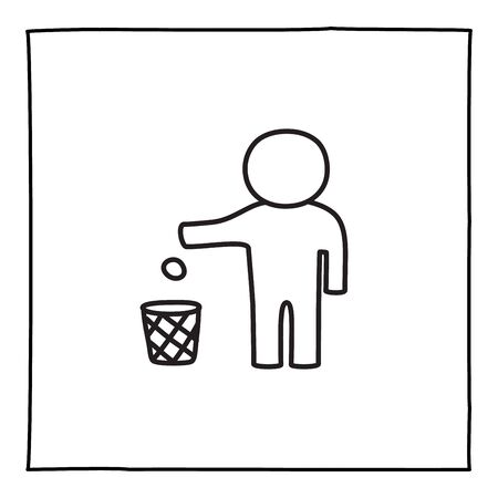 Doodle Tidy Man or Do Not Litter warning icon or logo, hand drawn with thin black line.Isolated on white background. Vector illustration