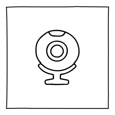 Doodle web cam computer icon or logo, hand drawn with thin black line. Ilustração