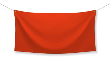 Red fabric banner with folds and transparent shadow isolated on white background. Blank hanging textile template. Empty mockup. Vector illustration