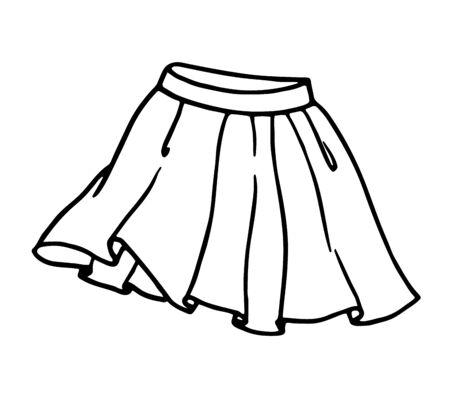 Hand drawn women skirt doodle in pen line art style, isolated on white background. Vector illustration Çizim