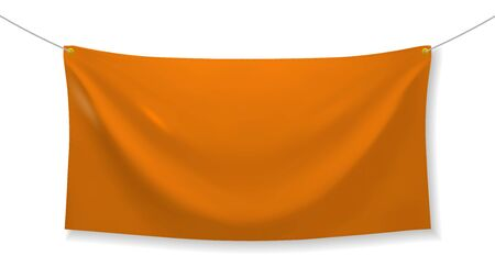Orange fabric banner with folds and transparent shadow isolated on white background. Blank hanging textile template. Empty mockup. Vector illustration Ilustração