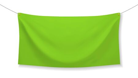 Green fabric banner with folds, isolated on white background. Blank hanging textile template, empty mockup. Vector illustration
