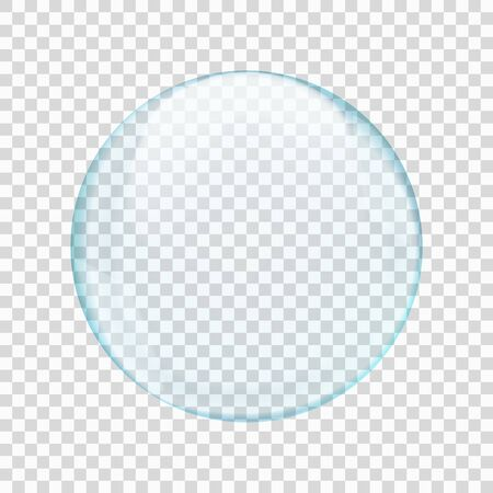 Blue translucent light round bubble or sphere with glares and transparency, shown on checkered background. Vector illustration