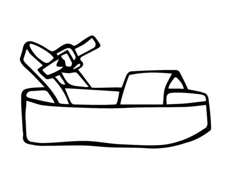 Doodle summer sandals with platform hand drawn in line art style with ink brush. Vector illustration isolated on white background Ilustração