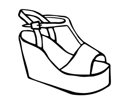 Doodle summer sandals with platform and heel hand drawn in line art style with ink brush. Vector illustration isolated on white background