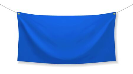 Blue fabric banner with folds, isolated on white background. Blank hanging fabric template. Empty mockup. Vector illustration