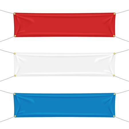 Red, white and blue textile banners with folds, blank hanging fabric template. Empty mockup. Vector illustration isolated on white background