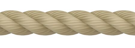 Seamless realistic hemp rope with high detail. Can be endlessly multiplied. Vector illustration isolated on white background Ilustração