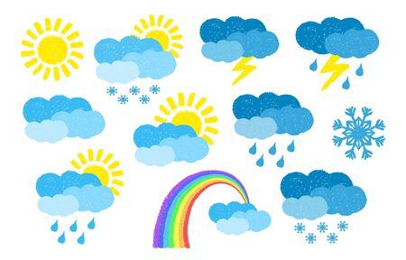 Set of hand drawn weather icons, painted with oil pastel crayons. vector illustration isolated on white background