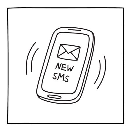 Doodle NEW SMS mobile phone icon hand drawn with thin line. Vector illustration isolated on white background