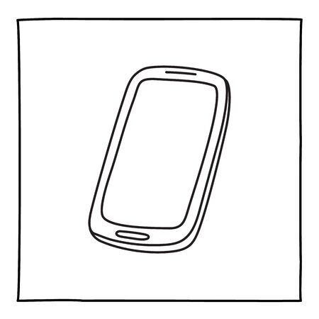 Doodle mobile phone icon hand drawn with thin line. Vector illustration isolated on white background