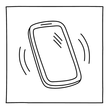 Doodle ringing mobile phone icon hand drawn with thin line. Vector illustration isolated on white background
